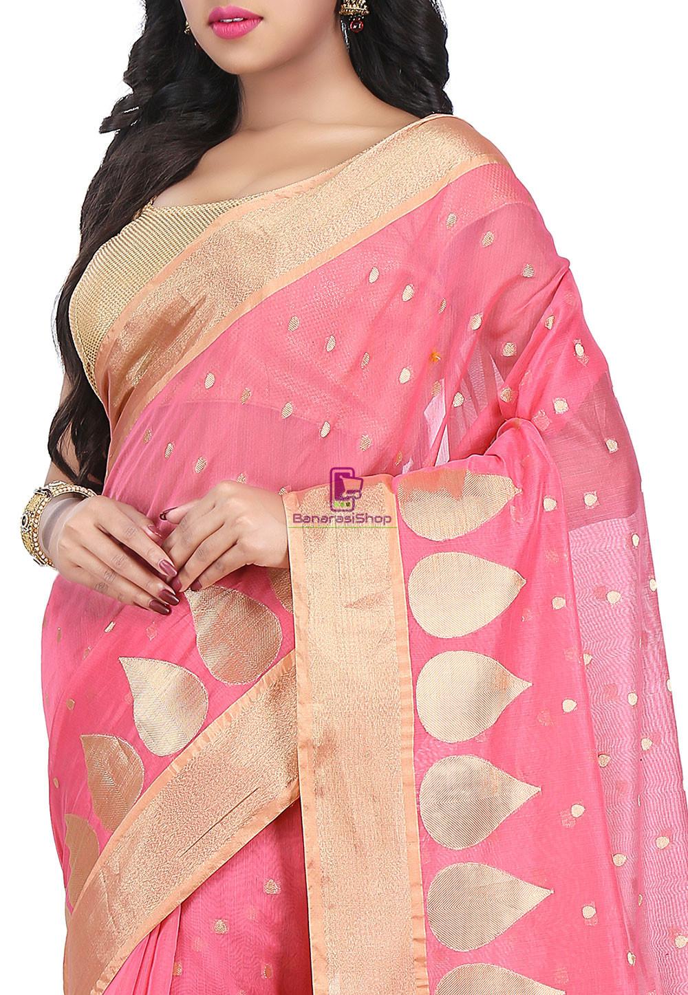 Woven Banarasi Chanderi Silk Saree in Pink 2