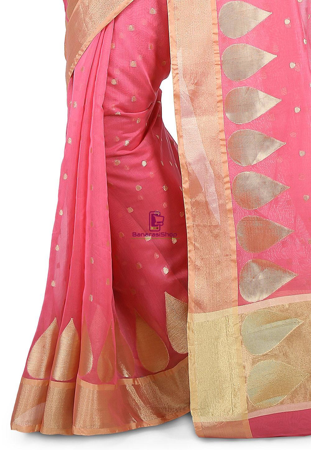 Woven Banarasi Chanderi Silk Saree in Pink 4