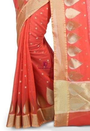 Woven Banarasi Chanderi Silk Saree in Coral Red 7