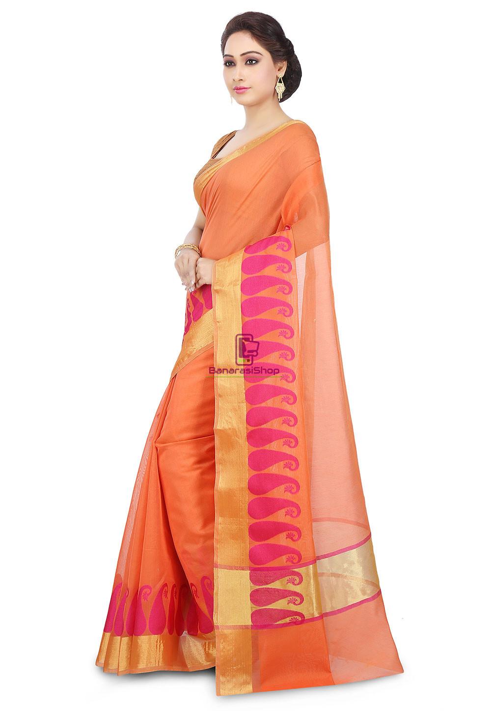 Woven Banarasi Chanderi Cotton Saree in Orange 5