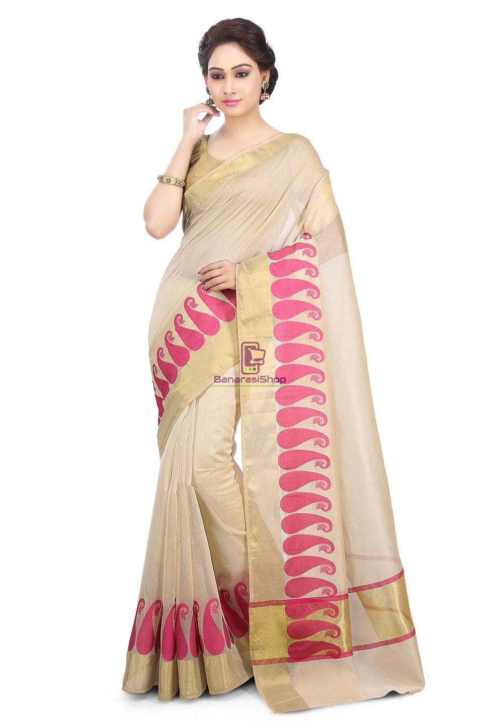 Woven Banarasi Chanderi Cotton Saree in Beige 1