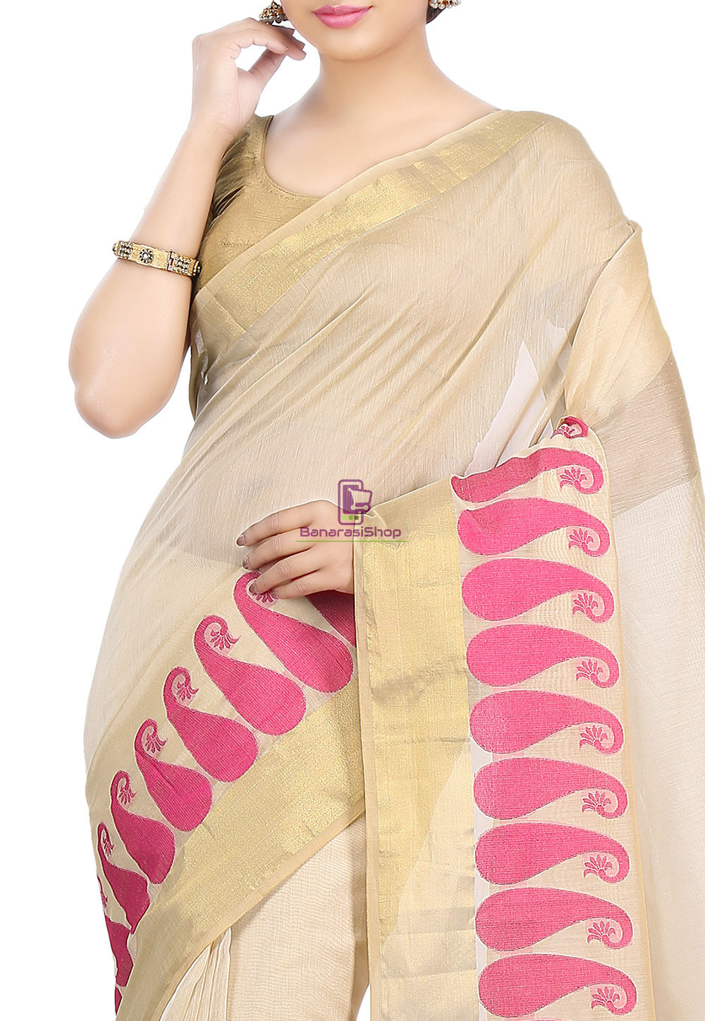 Woven Banarasi Chanderi Cotton Saree in Beige 2