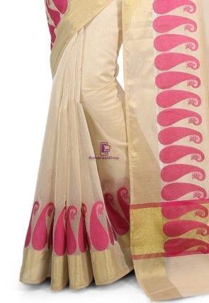 Woven Banarasi Chanderi Cotton Saree in Beige 7