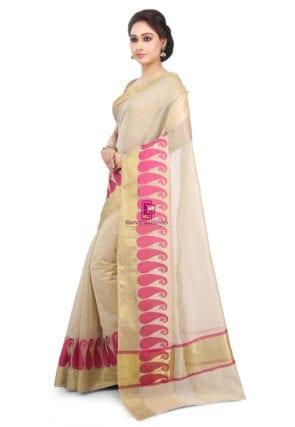 Woven Banarasi Chanderi Cotton Saree in Beige 9