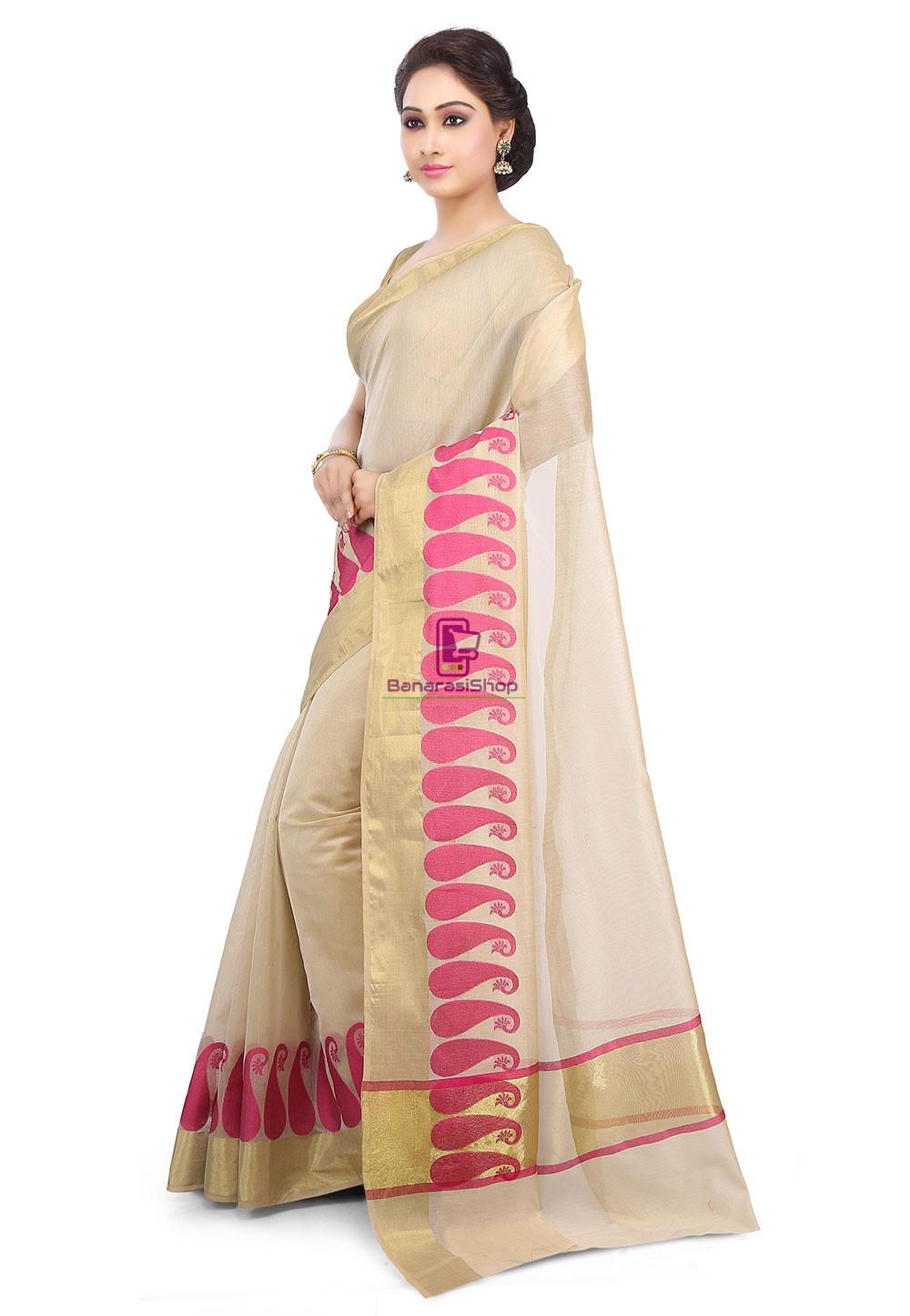 Woven Banarasi Chanderi Cotton Saree in Beige 5