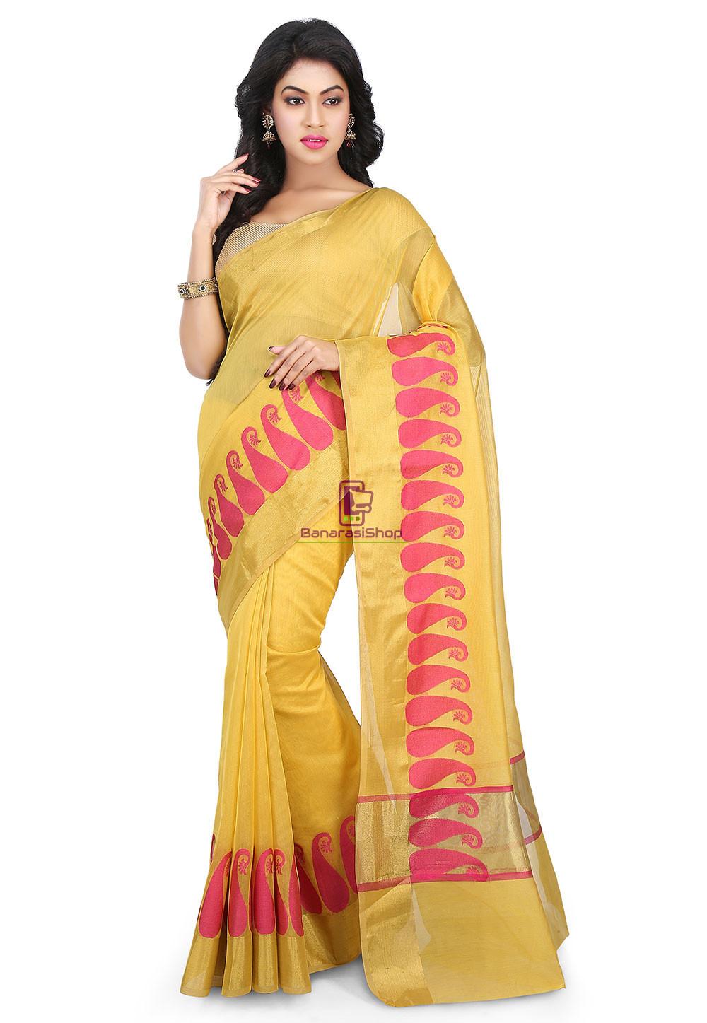 Woven Banarasi Chanderi Cotton Saree in Yellow 1