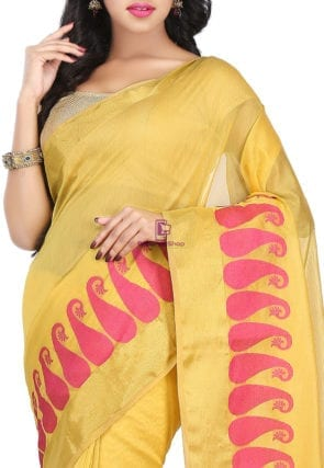 Woven Banarasi Chanderi Cotton Saree in Yellow 6