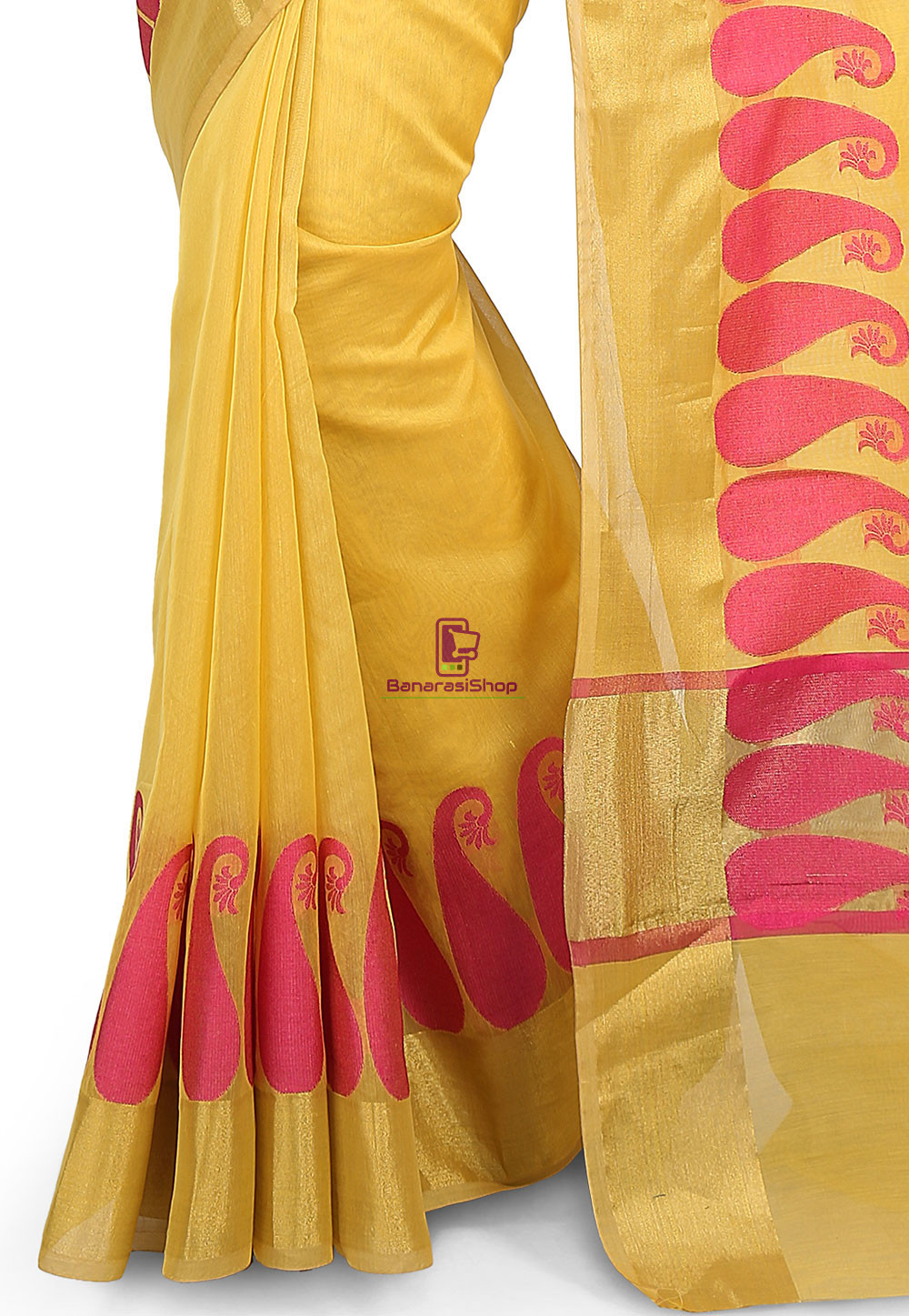 Woven Banarasi Chanderi Cotton Saree in Yellow 3