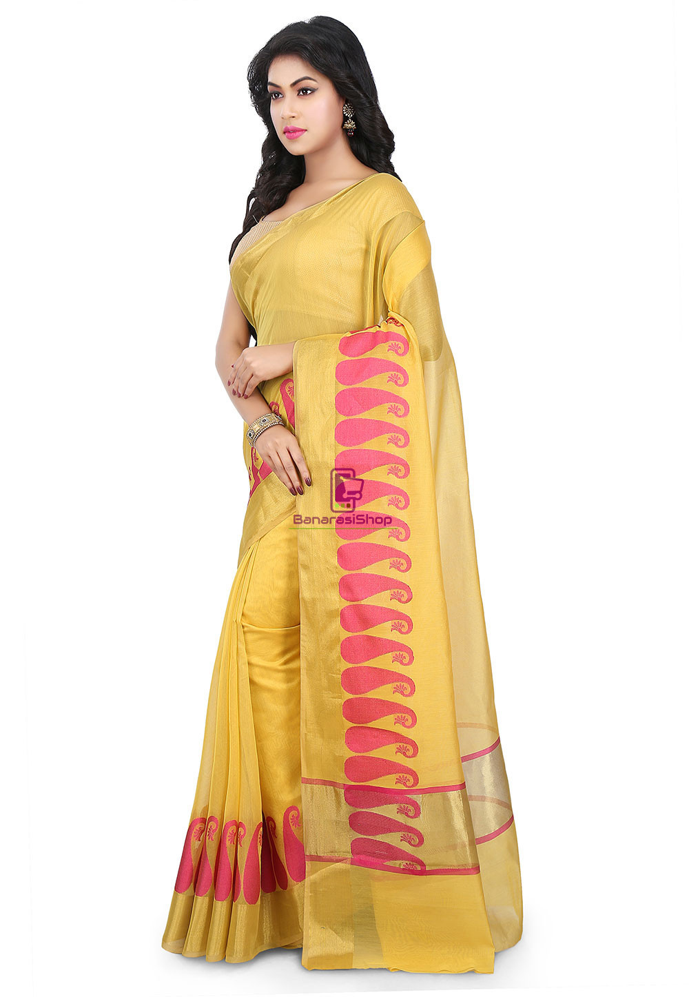 Woven Banarasi Chanderi Cotton Saree in Yellow 5