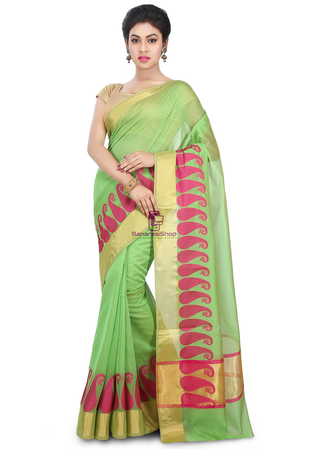 Woven Banarasi Chanderi Cotton Saree in Light Green 1
