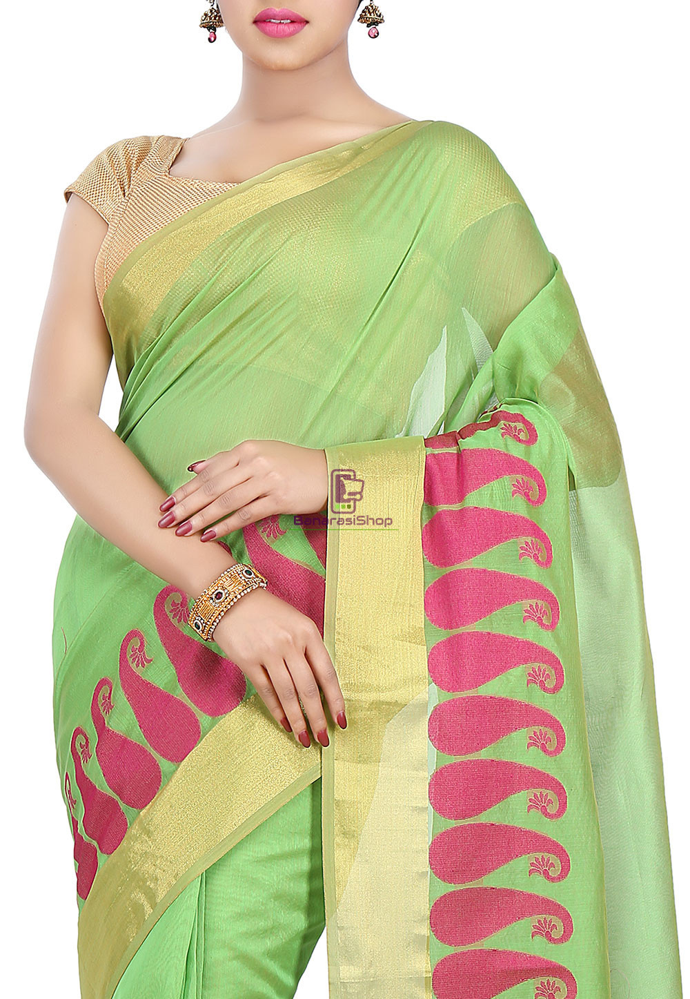 Woven Banarasi Chanderi Cotton Saree in Light Green 2