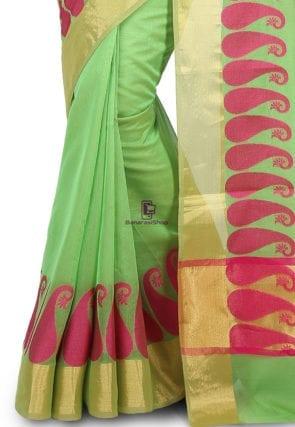 Woven Banarasi Chanderi Cotton Saree in Light Green 7