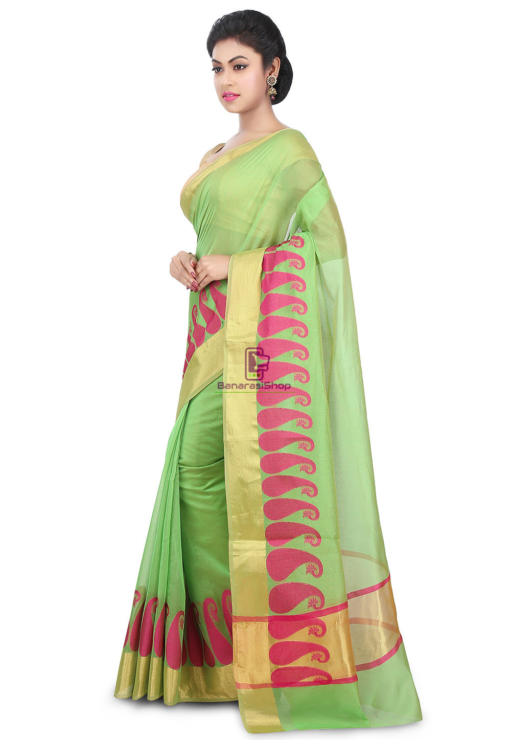 Woven Banarasi Chanderi Cotton Saree in Light Green 5
