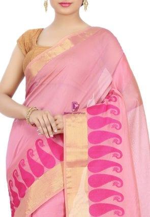 Woven Banarasi Chanderi Cotton Saree in Pink 6
