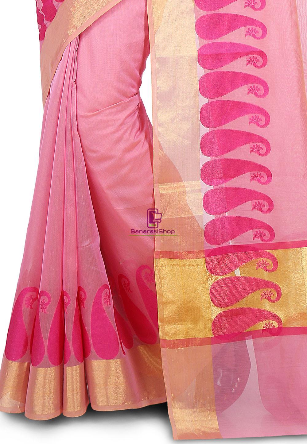 Woven Banarasi Chanderi Cotton Saree in Pink 3