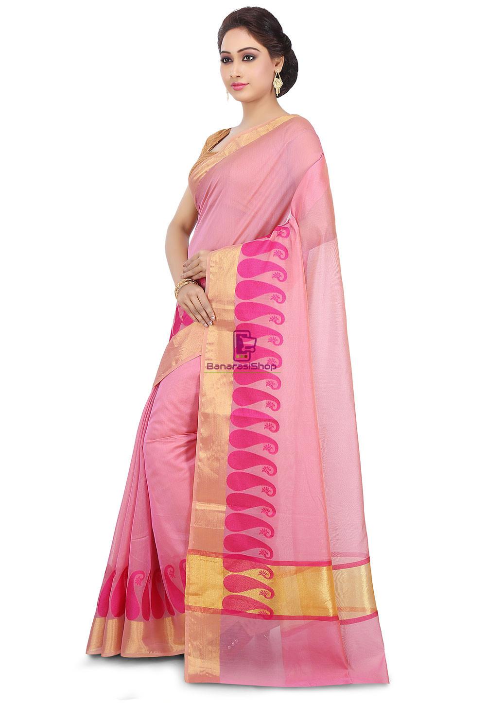 Woven Banarasi Chanderi Cotton Saree in Pink 5