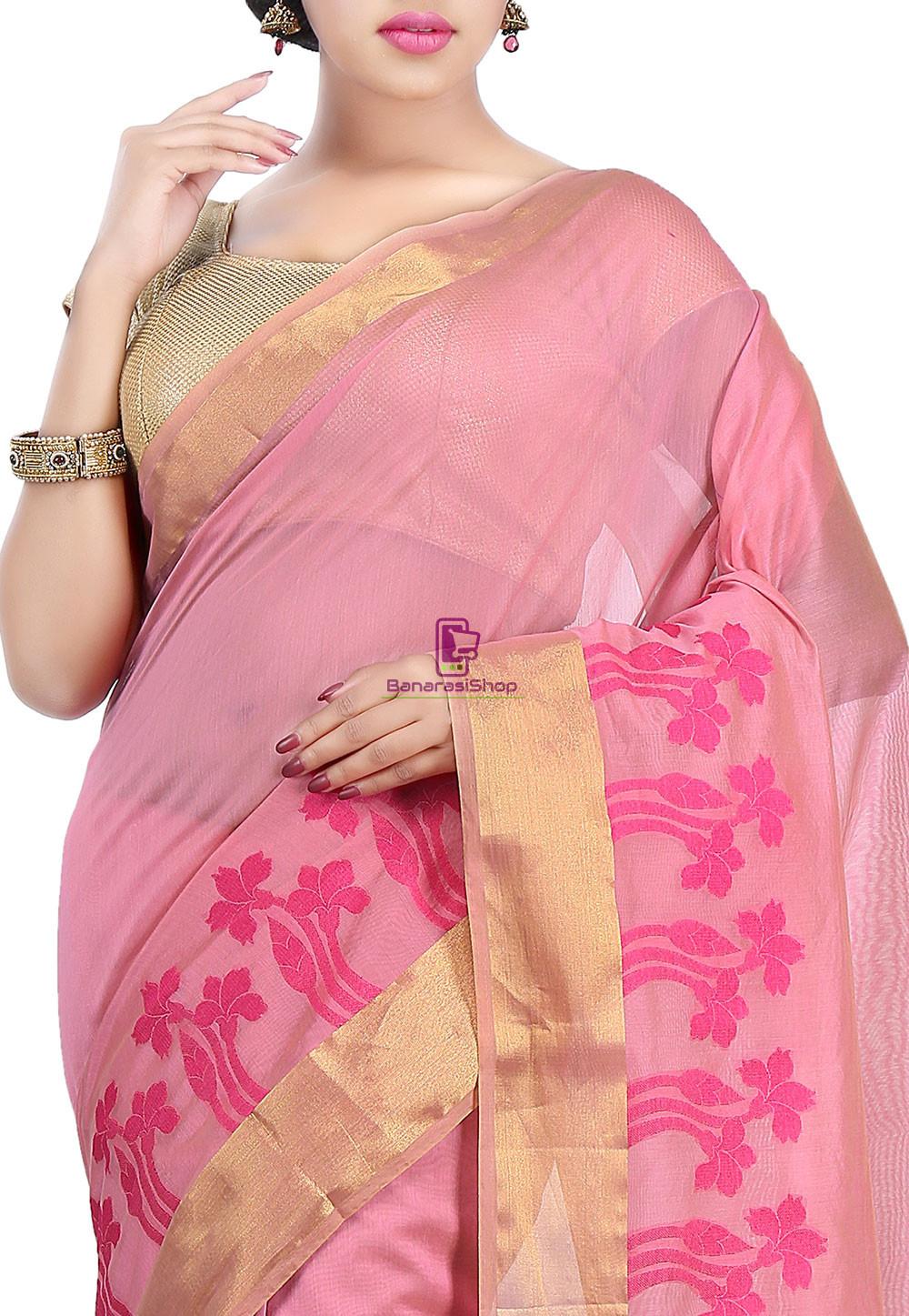 Woven Banarasi Chanderi Cotton Saree in Pink 2