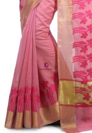 Woven Banarasi Chanderi Cotton Saree in Pink 7