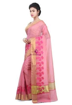 Woven Banarasi Chanderi Cotton Saree in Pink 9