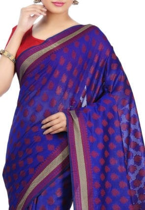 Woven Banarasi Art Silk Saree in Royal Blue 6