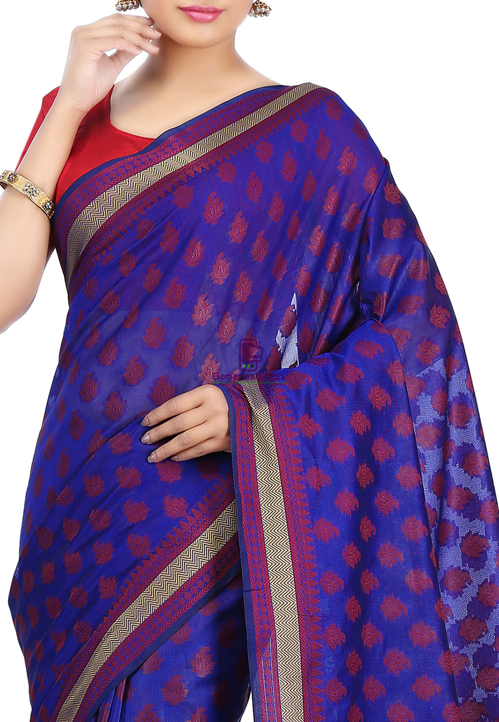 Woven Banarasi Art Silk Saree in Royal Blue 2