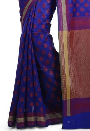 Woven Banarasi Art Silk Saree in Royal Blue 7