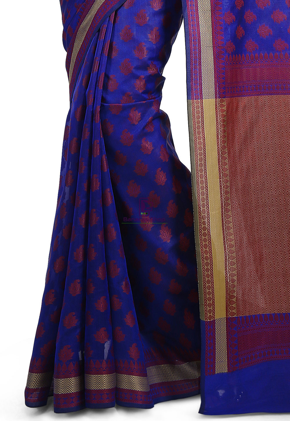 Woven Banarasi Art Silk Saree in Royal Blue 3