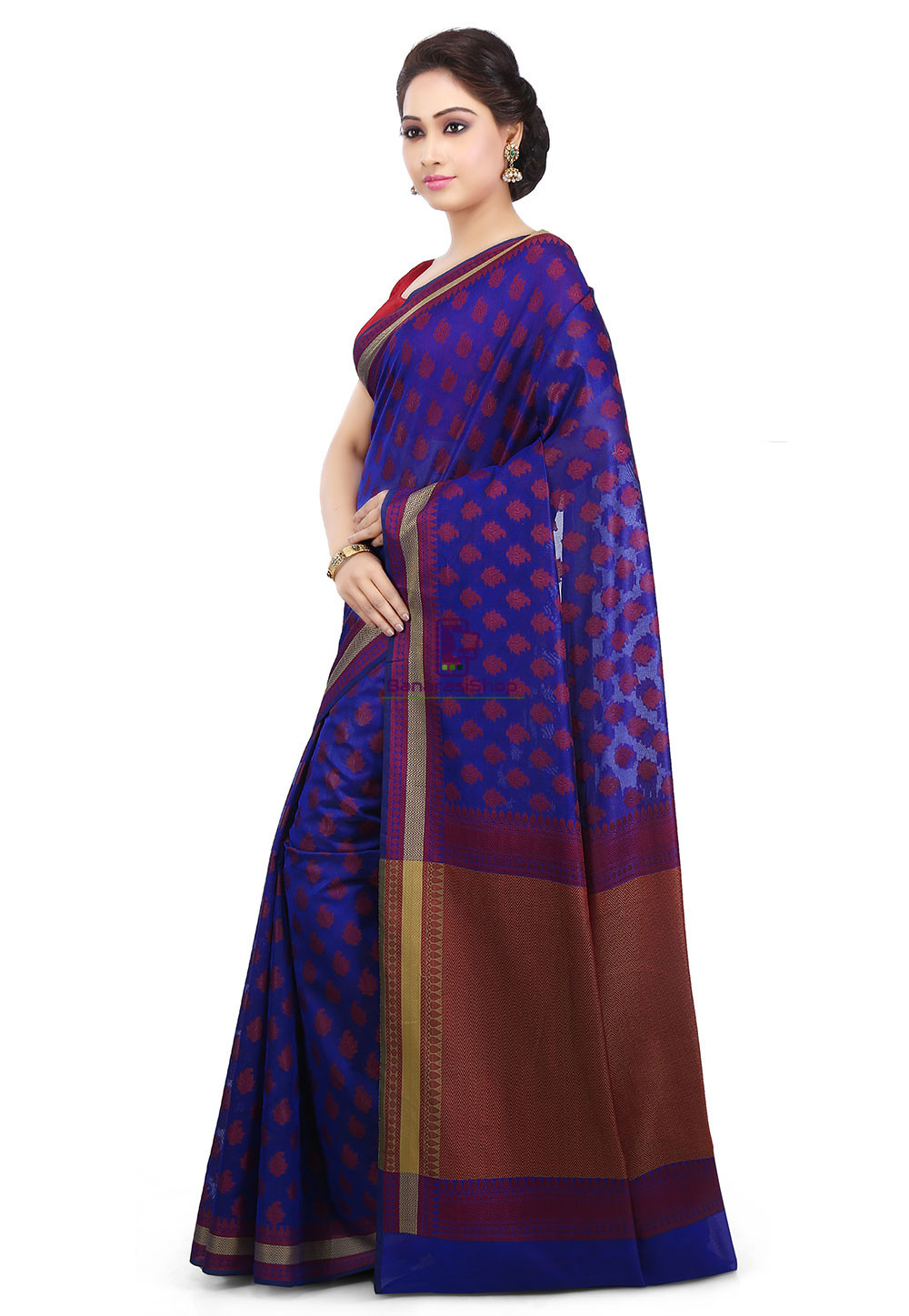 Woven Banarasi Art Silk Saree in Royal Blue 5