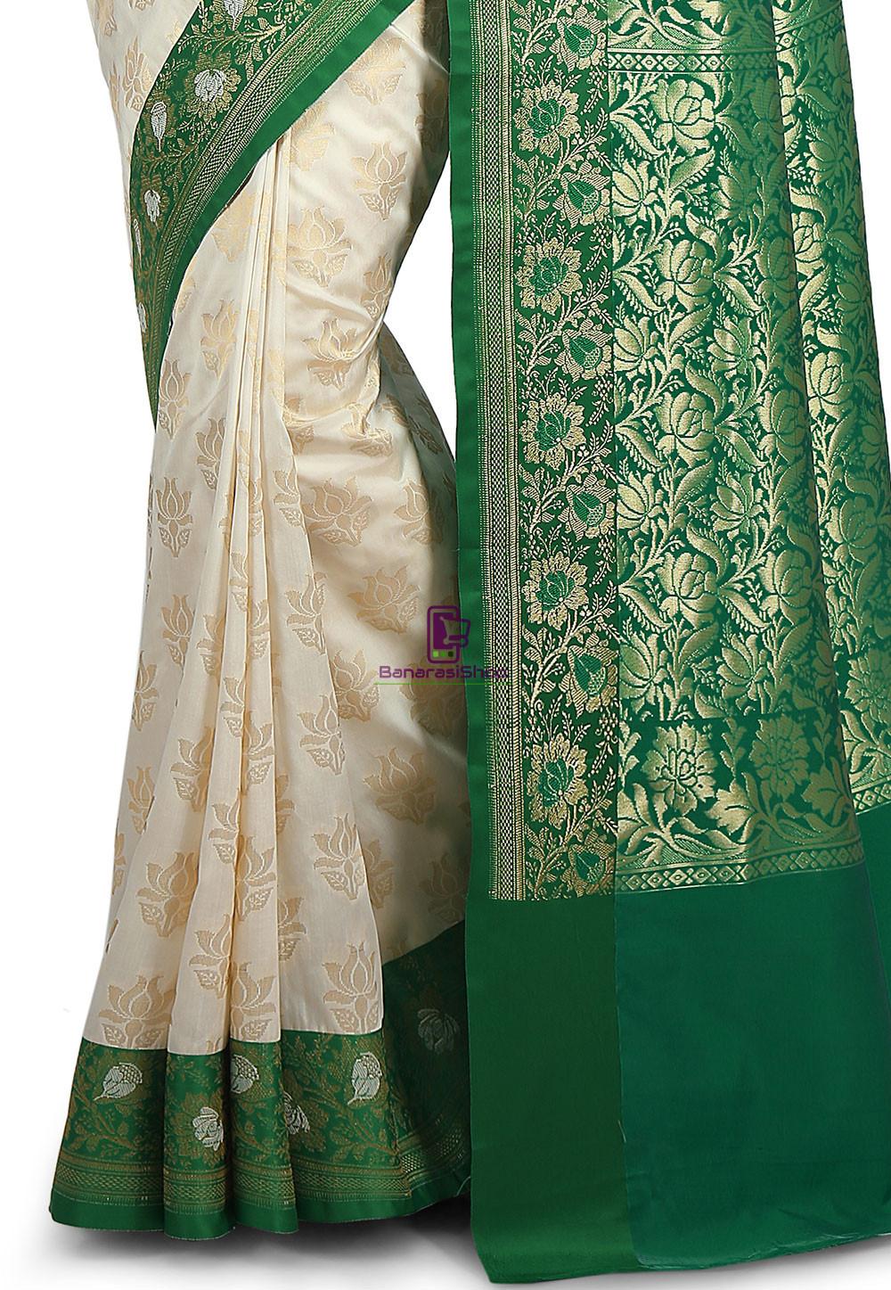 Woven Banarasi Art Silk Saree in Off White 3