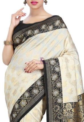 Woven Banarasi Art Silk Saree in Off White 6