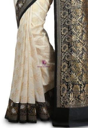 Woven Banarasi Art Silk Saree in Off White 7
