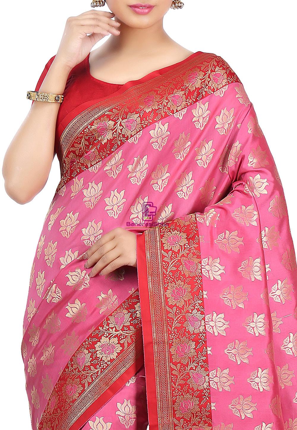 Woven Banarasi Art Silk Saree in Pink 5