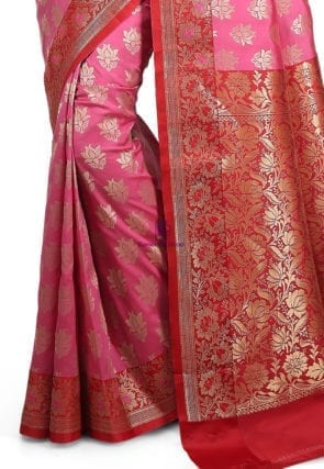 Woven Banarasi Art Silk Saree in Pink 8