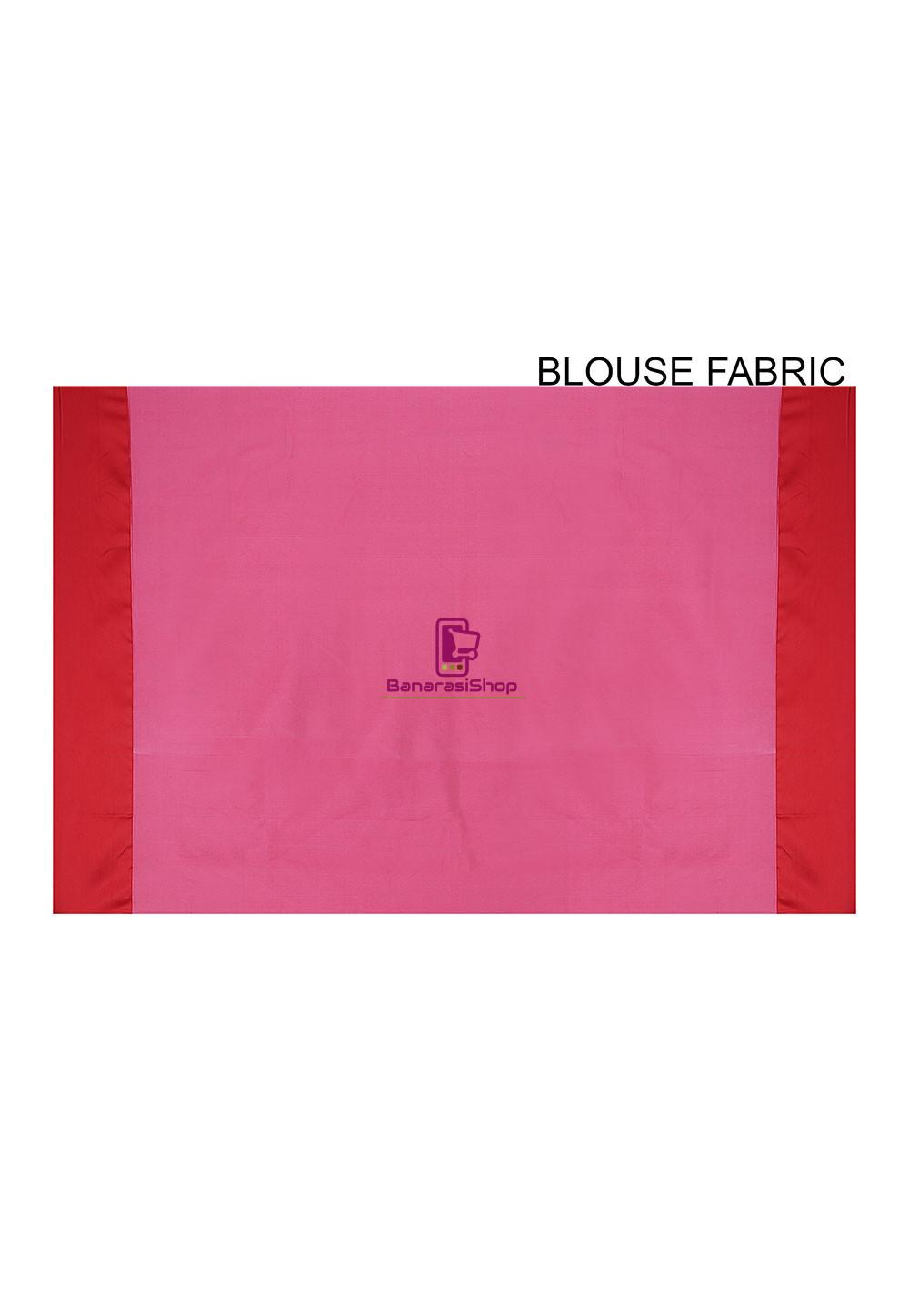 Woven Banarasi Art Silk Saree in Pink 3