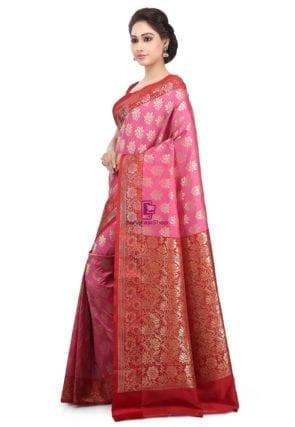 Woven Banarasi Art Silk Saree in Pink 6