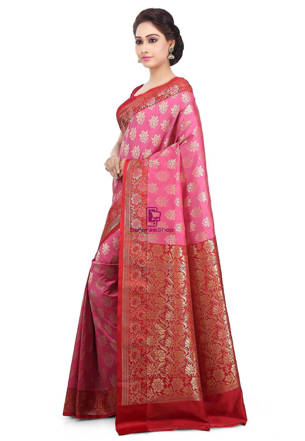 Woven Banarasi Art Silk Saree in Pink 2