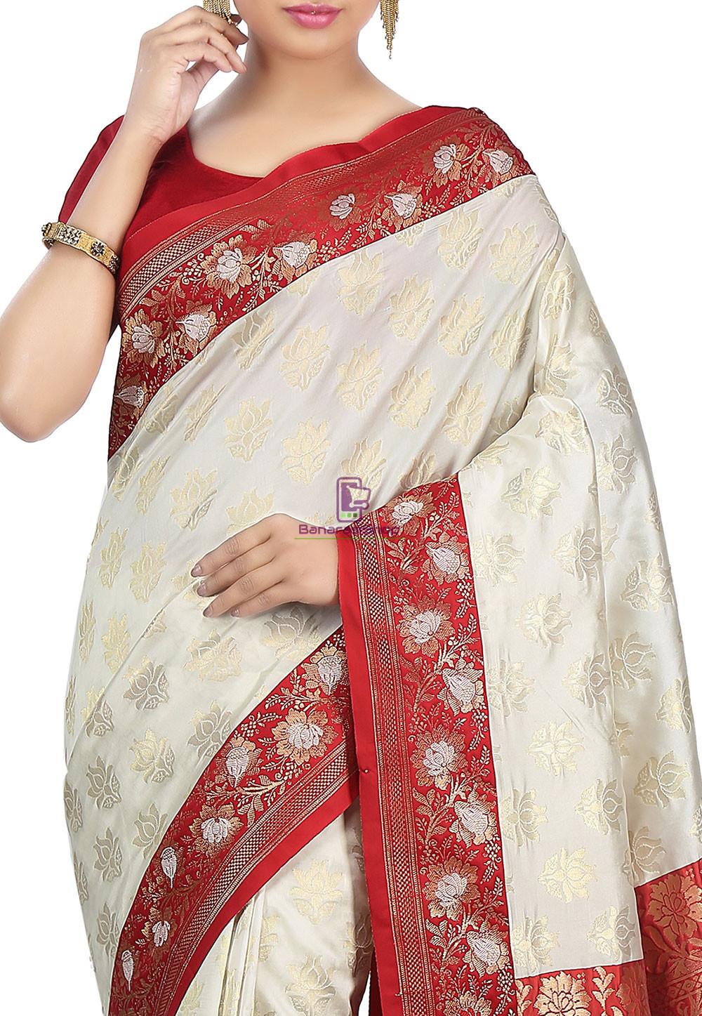 Woven Banarasi Art Silk Saree in Off White 2