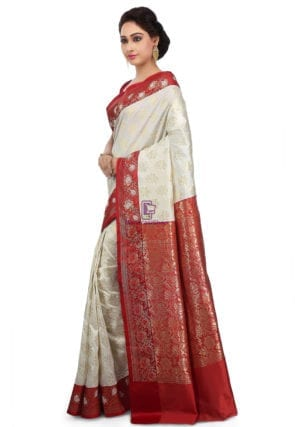 Woven Banarasi Art Silk Saree in Off White 9