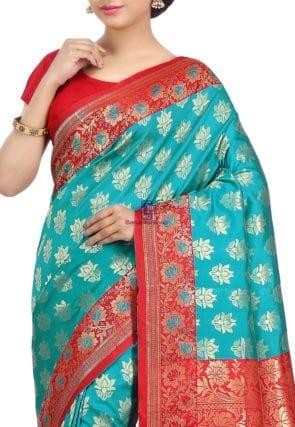 Woven Banarasi Art Silk Saree in Teal Green 6