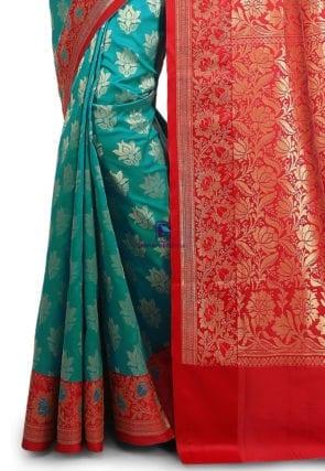 Woven Banarasi Art Silk Saree in Teal Green 7