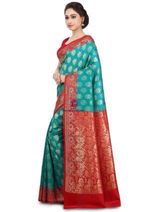 Woven Banarasi Art Silk Saree in Teal Green 9