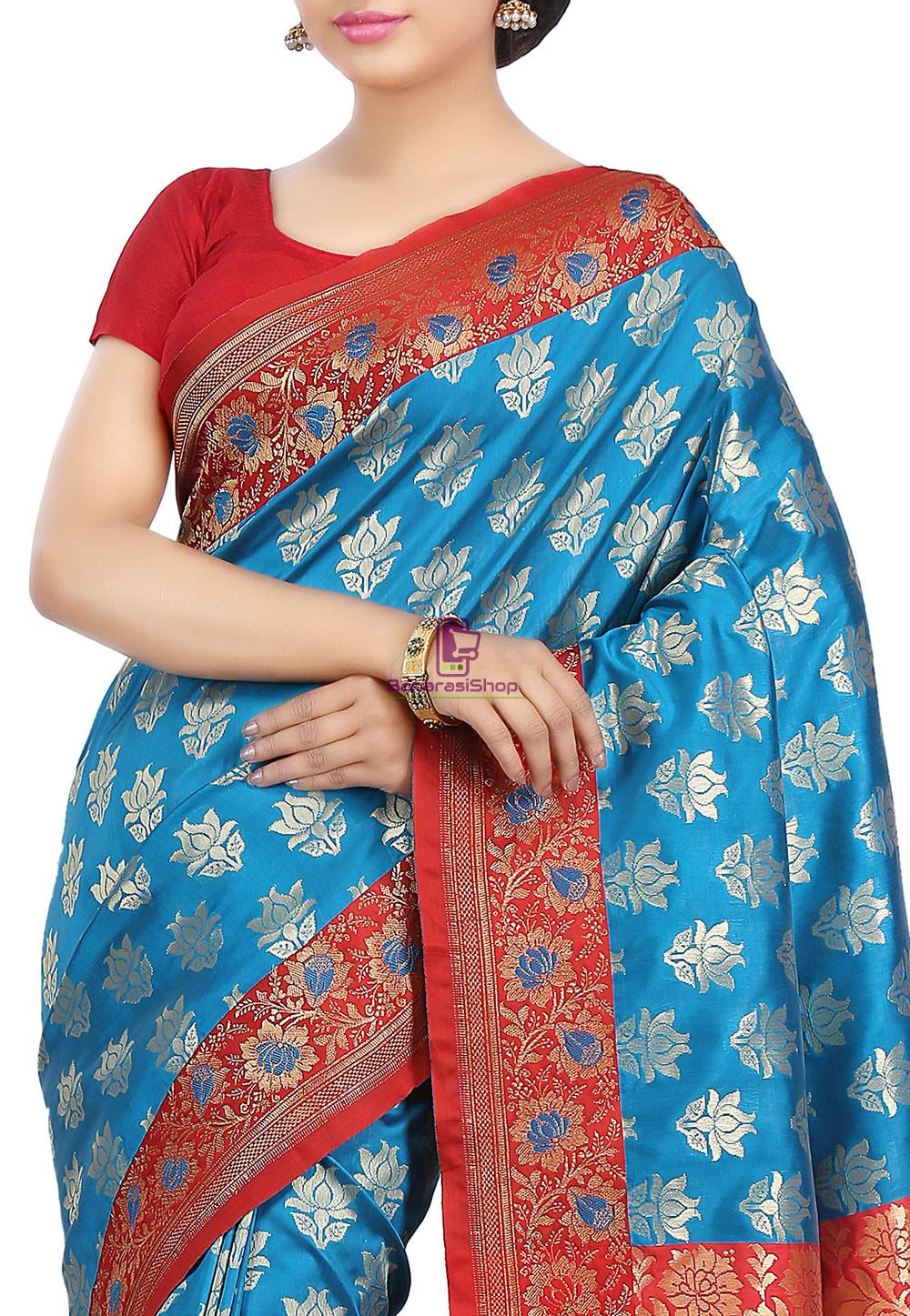 Woven Banarasi Art Silk Saree in Blue 2
