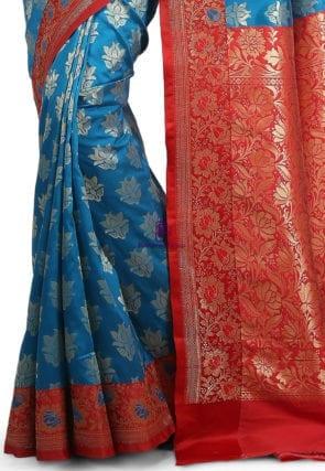 Woven Banarasi Art Silk Saree in Blue 7