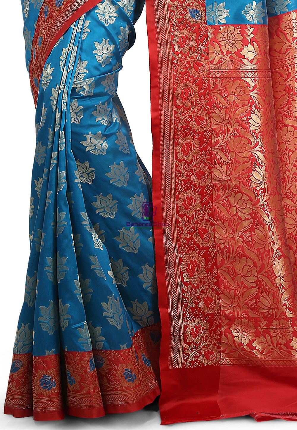Woven Banarasi Art Silk Saree in Blue 3