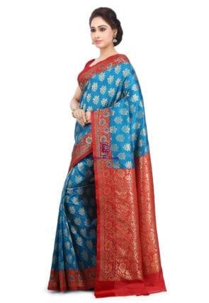 Woven Banarasi Art Silk Saree in Blue 9