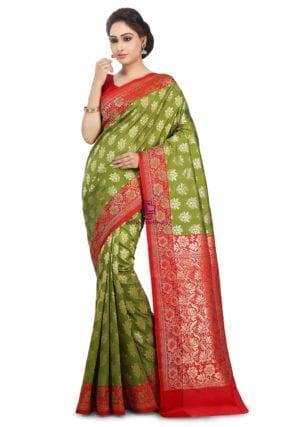 Woven Banarasi Art Silk Saree in Olive Green and Red 10