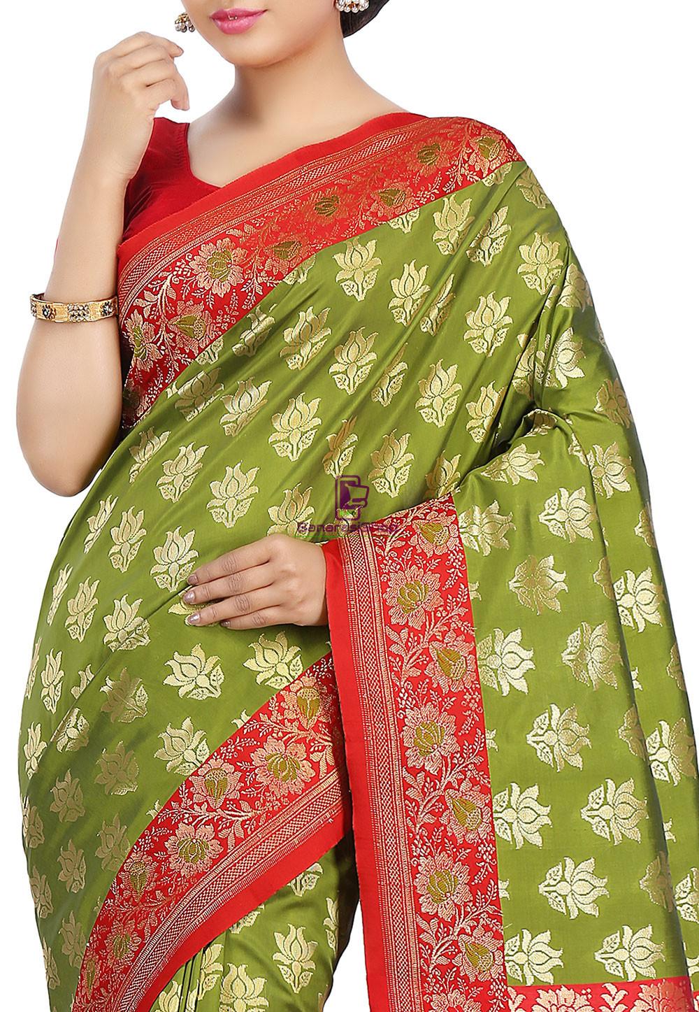 Woven Banarasi Art Silk Saree in Olive Green and Red 3