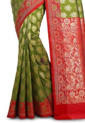 Woven Banarasi Art Silk Saree in Olive Green and Red 7