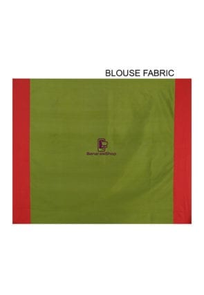 Woven Banarasi Art Silk Saree in Olive Green and Red 9