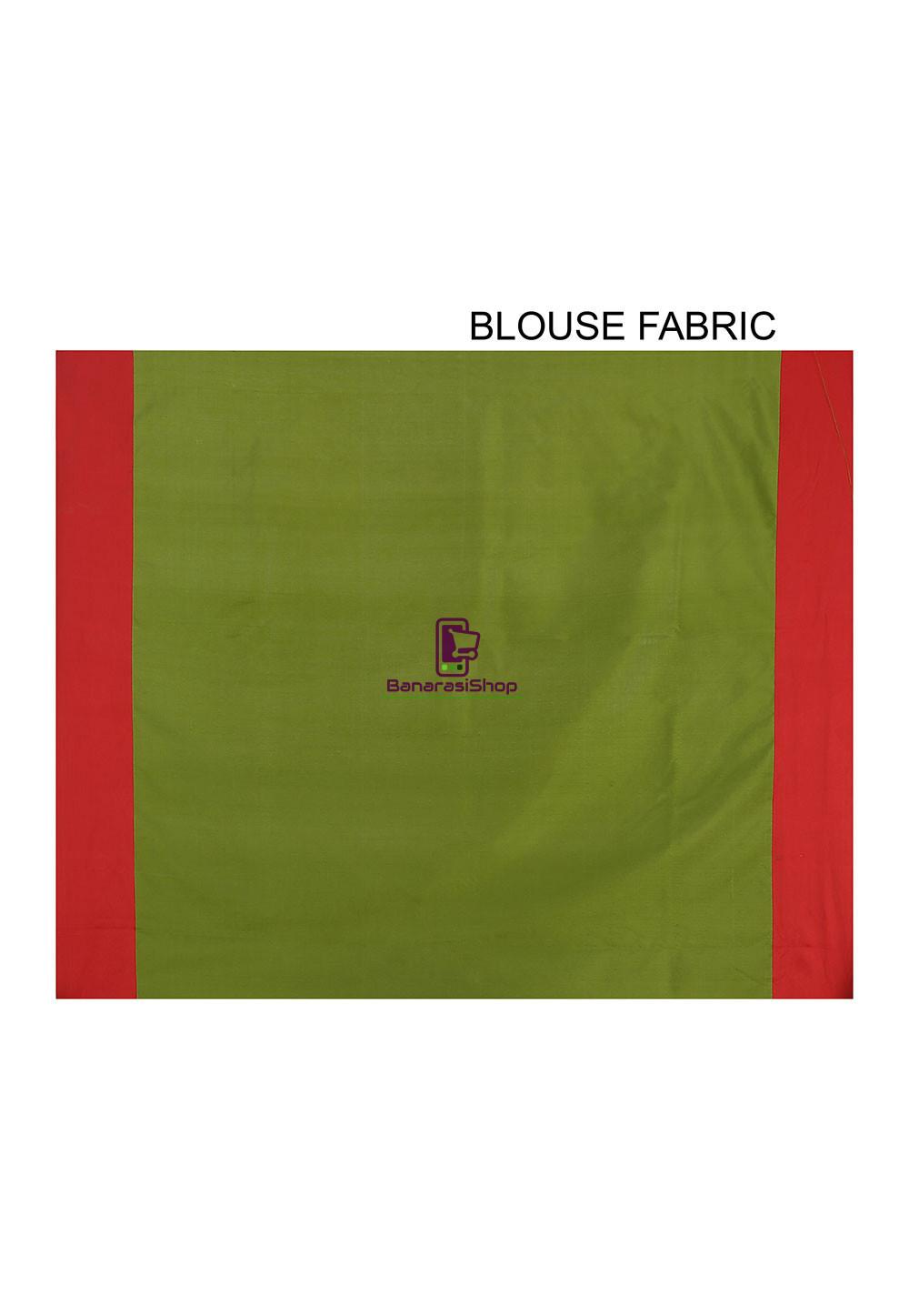 Woven Banarasi Art Silk Saree in Olive Green and Red 4